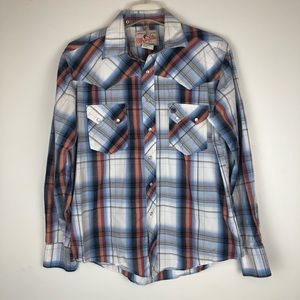 Wrangler Mens Pearl Snap Western Flannel Shirt